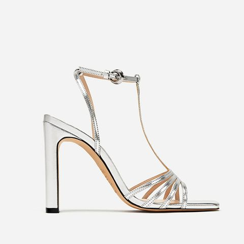 Silver Wide High Heel Sandals