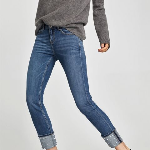 Mid-Rise Jeans With Pearl Beads