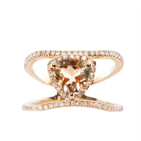 14kt Gold and Diamond Double Band Champagne Garnet Trillion Ring