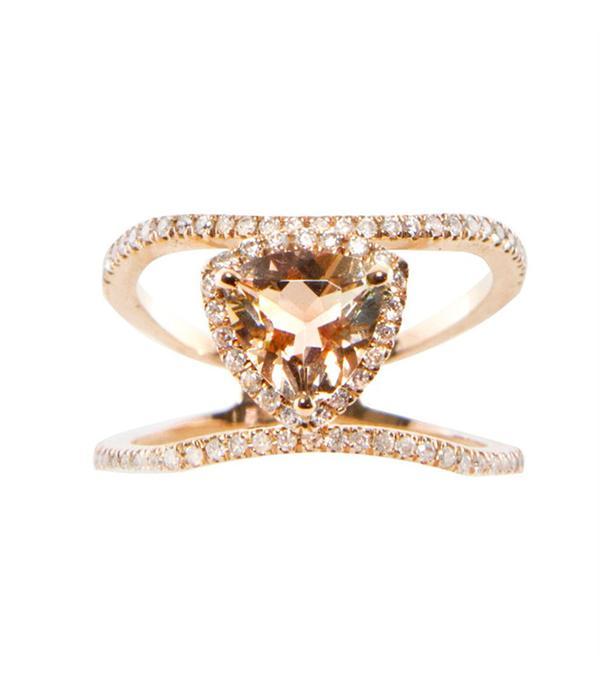 Luna Skye 14Kt Gold and Diamond Double Band Champagne Garnet Trillion Ring