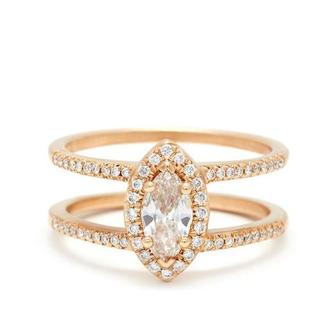 Attelage Pavé Marquise Cut Ring in Yellow Gold and White Diamond