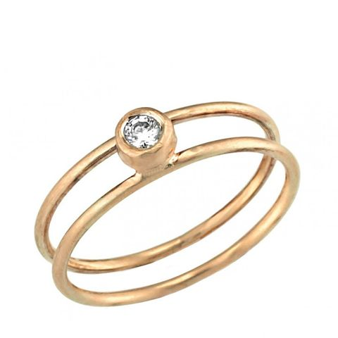 Gold Double-Banded Engagement Ring Embedded With Diamonds