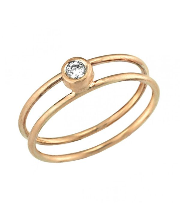 Neta Wolpe Gold Double-Banded Engagement Ring Embedded With Diamonds