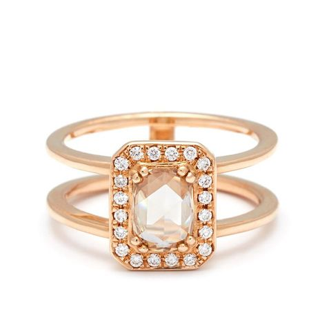 Attelage Ring in Yellow Gold and Rose Cut Champagne Diamond
