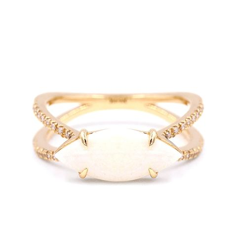 Marquis Opal Double Band Ring