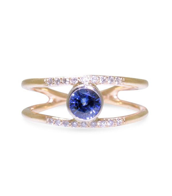 Chinchar Maloney .82K Blue Sapphire Ring with Double Gold Band
