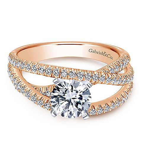 Mackenzie 14K Rose Gold Round Free Form Diamond Engagement Ring