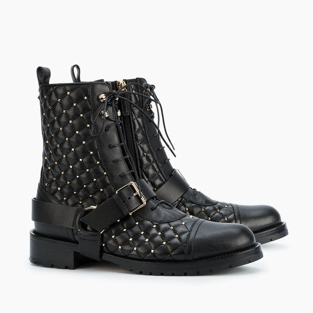 Valentino Rockstud Quilted Lace-Up Boots