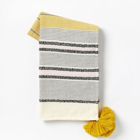 Banded Throw With Corner Tassels