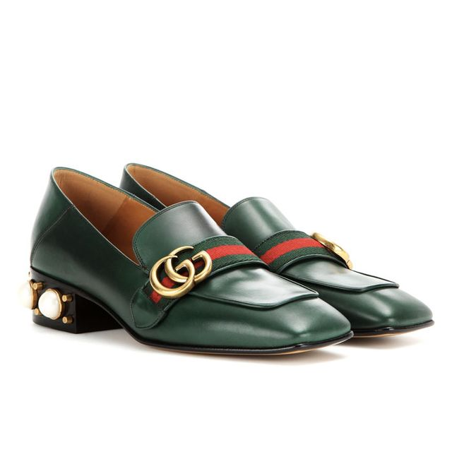 Gucci Leather Mid-Heel Loafers