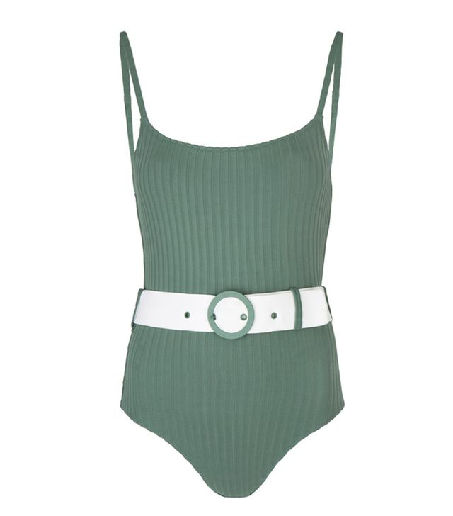 Solid & Striped Emerald Green Ribbed Nina One Piece