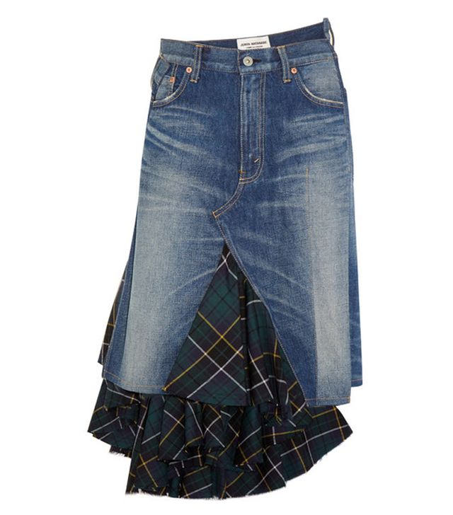 Junya Watanabe Asymmetric Denim and Tartan Wool Midi Skirt