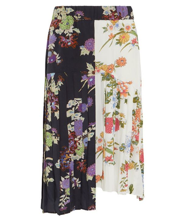 Isabel Marant Inaya Pleated Printed Silk Crepe de Chine Skirt