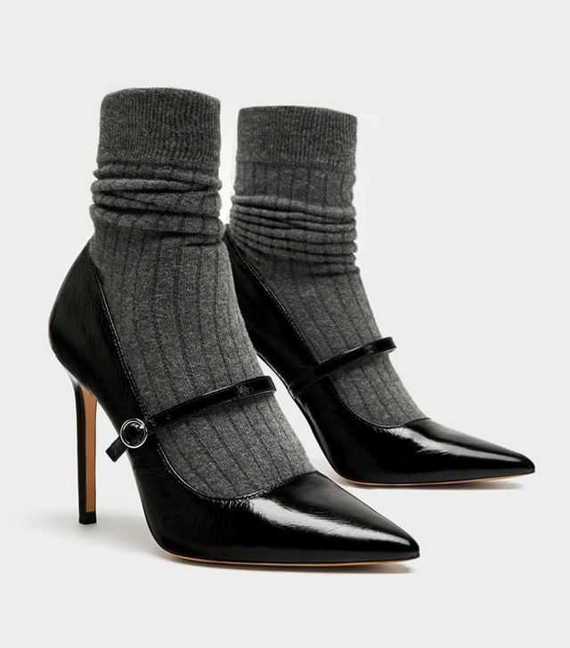 Zara Sock Style High Heel Court Shoe