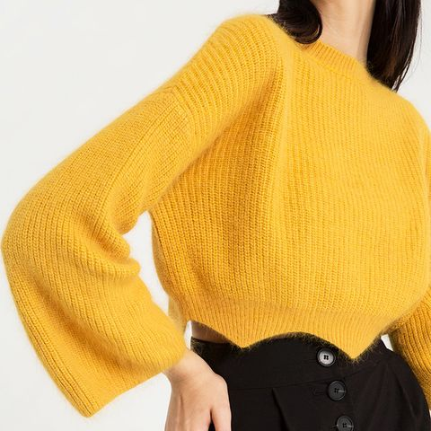 Mika Yellow Scalloped Yellow Crop Sweater