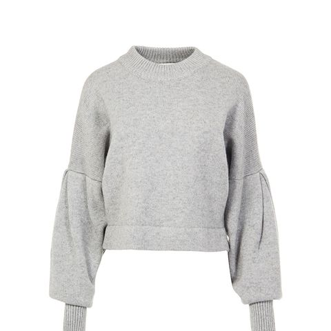 Cashmere Pleated Sleeve Cropped Pullover