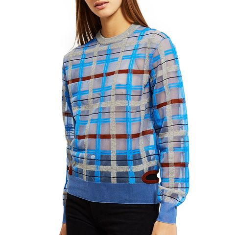Plaid Knit Pullover