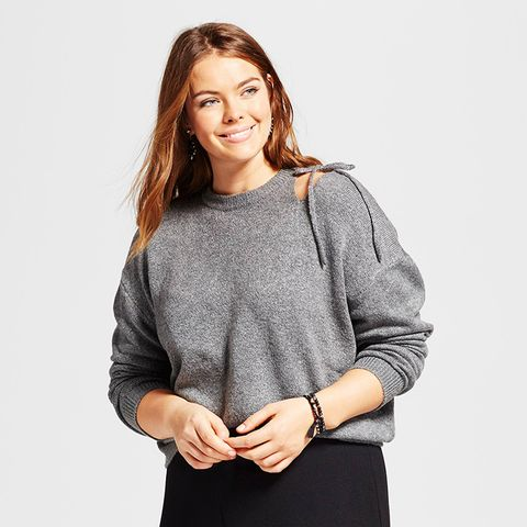 Plus Size Long Sleeve Cut Out Shoulder Sweater