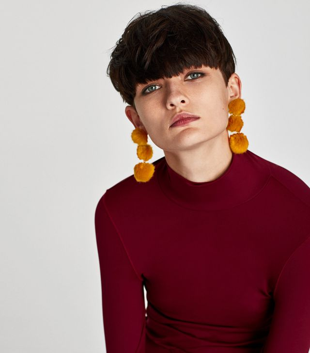 Zara Long Pompom Earrings