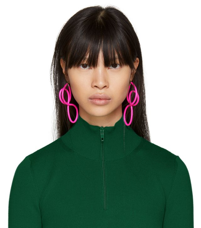 Balenciaga Pink Elastic Magnet Earrings