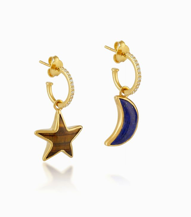 Theodora Warre Lapis Lazuli & Gold Tiger Eye Star Moon Earrings