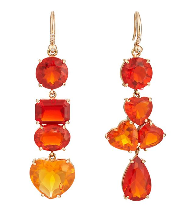 Irene Neuwirth Mismatched Fire Opal Drop Earrings