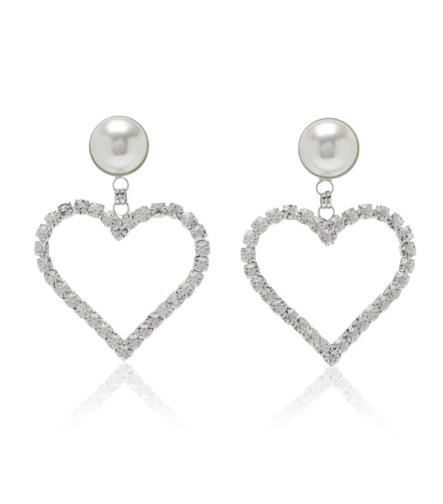 Crystal Heart Earrings with Pearl Clip