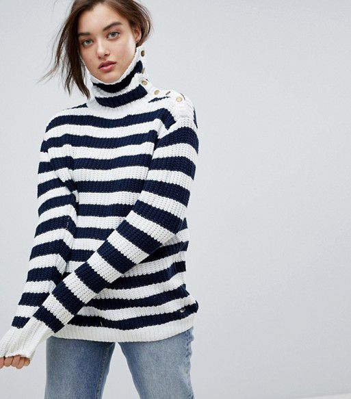 Stripe Funnel Neck Wool Blend Sweater