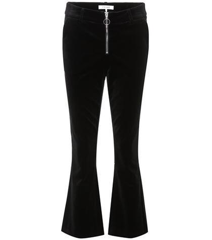 Velvet cropped trousers