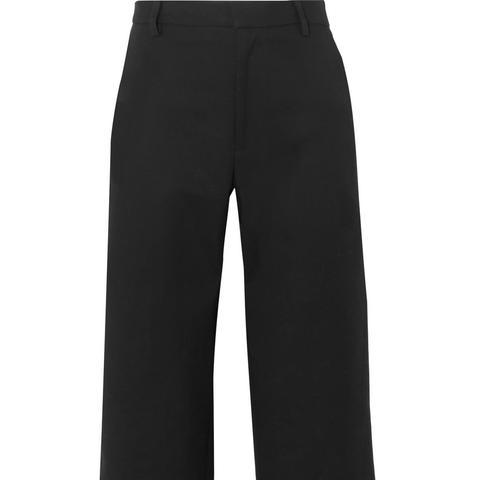 Cotton-blend Faille Wide-leg Pants