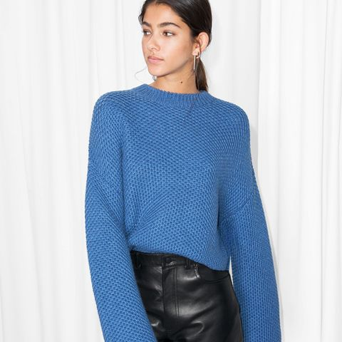 Cropped Honeycomb Knit Sweater