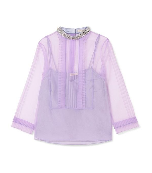 Crystal-embellished Ruffled Organza Blouse