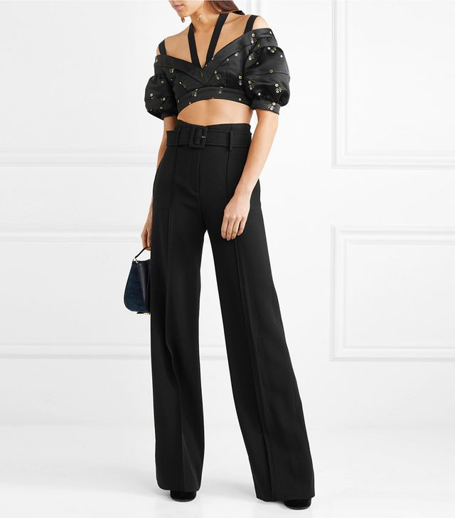 Debra Cropped Embroidered Duchesse-satin Blouse
