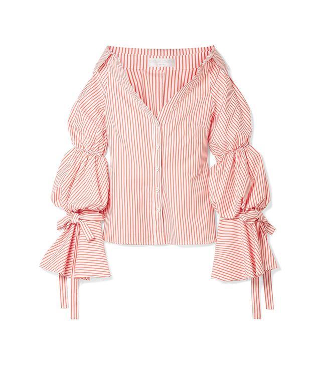 Margaret Off-the-shoulder Striped Cotton-poplin Shirt