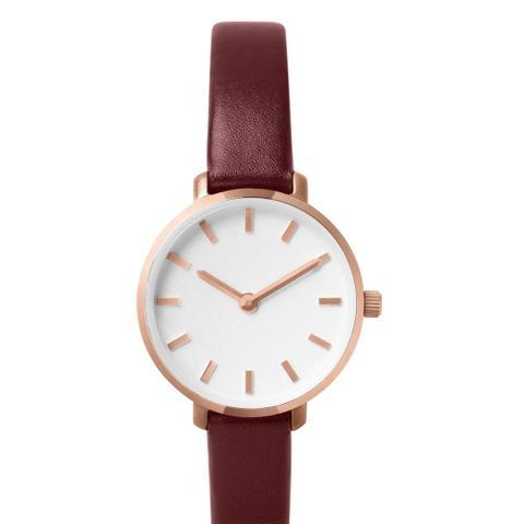 Beverly Round Leather Strap Watch
