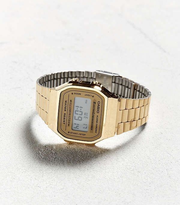 Casio Vintage Digital Watch - Gold One Size at Urban Outfitters