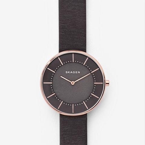 Gitte Dark Gray Leather Watch