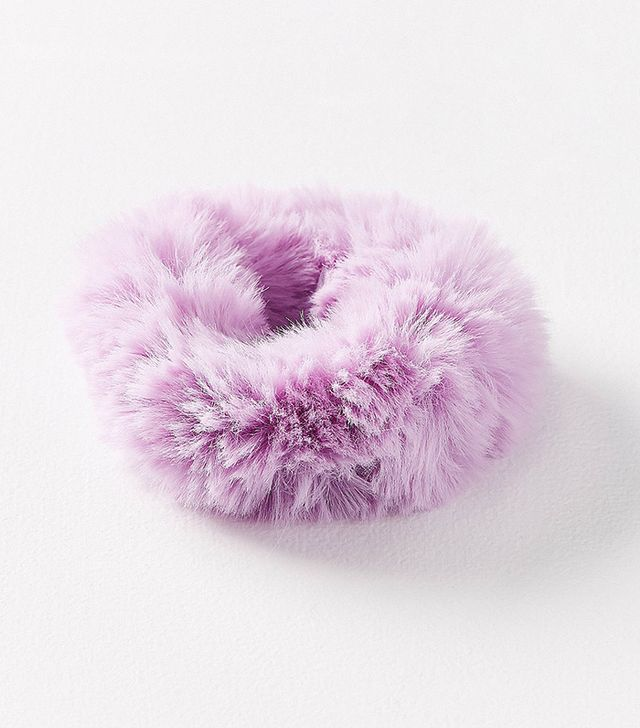Fuzzy Scrunchie - Pink One Size at Urban Outfitters