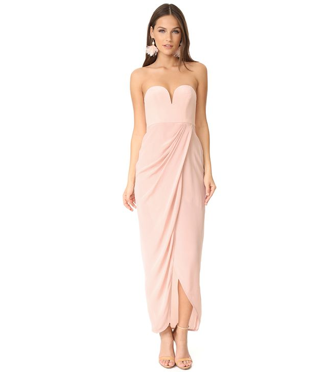 Strapless Drape Maxi Dress