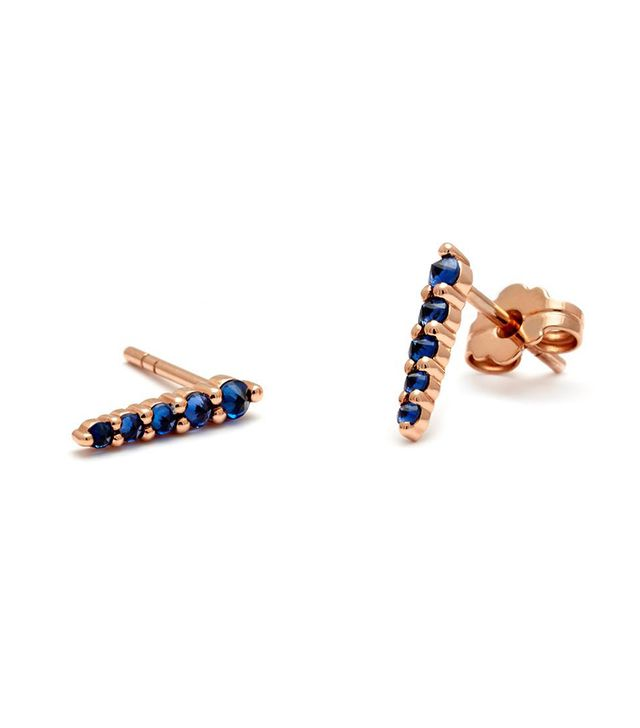Anna Sheffield Pavé Pointe Stud Earrings (Medium) in Rose Gold and Blue Sapphire