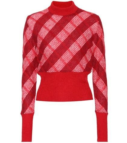 Checked mohair-blend sweater