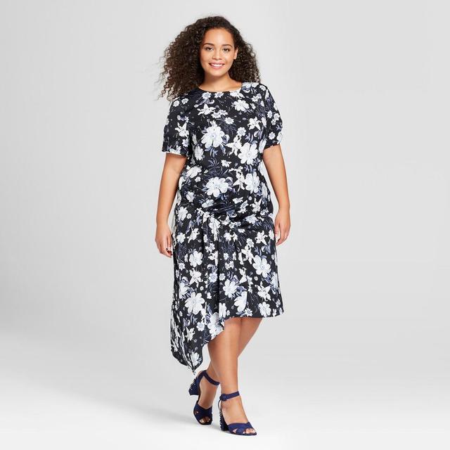 Plus Size Short Sleeve Asymmetric Shirred Midi Dress