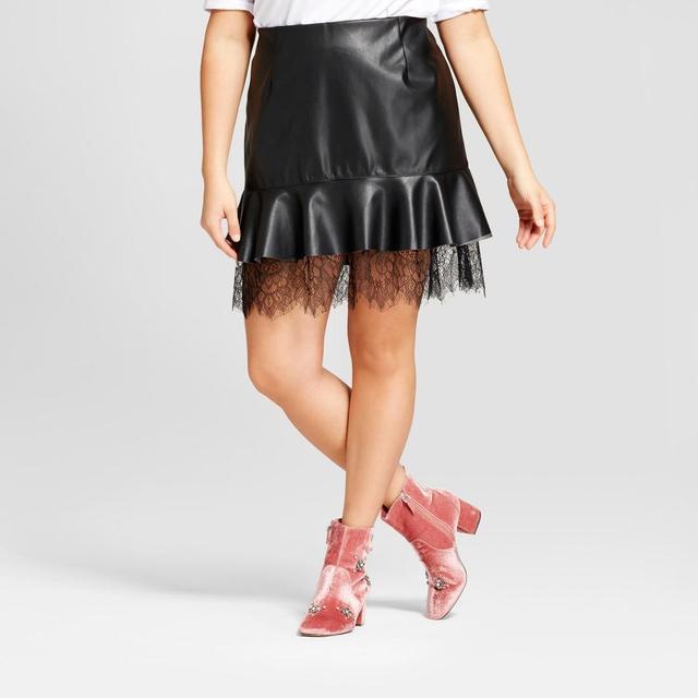 Plus Size Lace Layered Mini Skirt