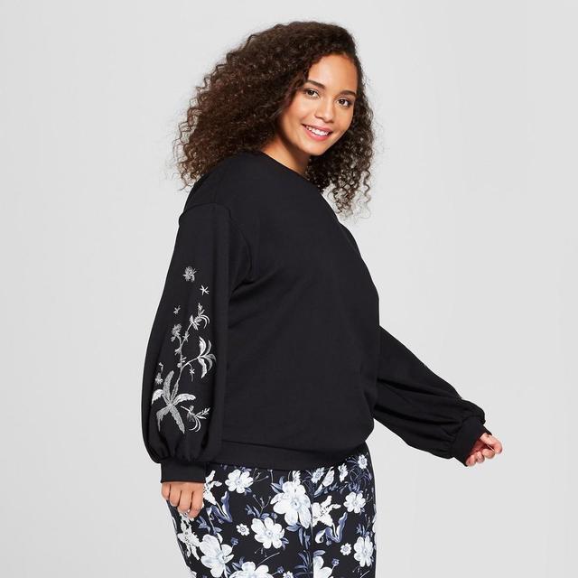 Plus Size Long Sleeve Embroidered Sweatshirt