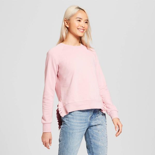 Who What Wear Long Sleeve Ruffle Slit Sweatshirt