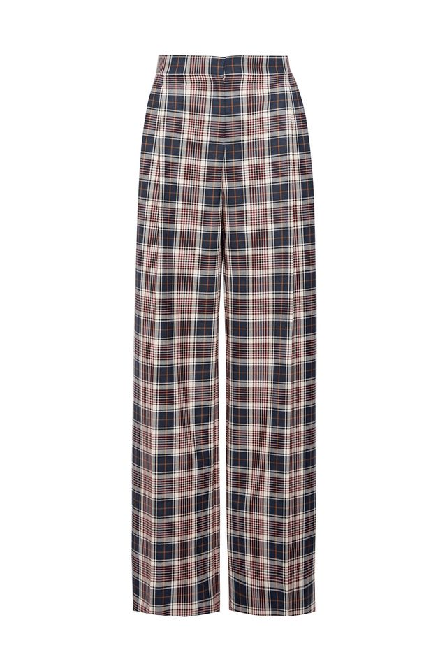 Garrett Pleated Plaid Twill Wide-leg Pants