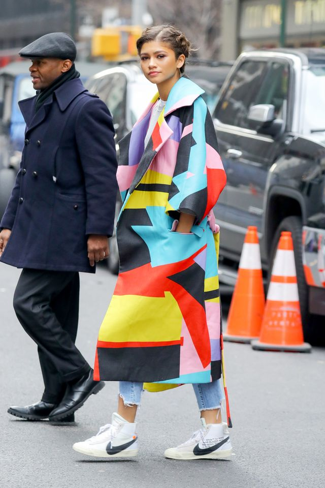 Zendaya wearing colorful coat