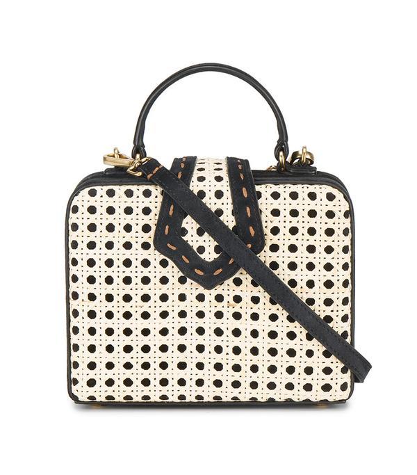 Small Black & Cream Fey Bamboo box bag