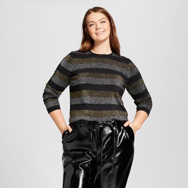 Plus Size Long Sleeve Metallic Stripe Crew Sweater