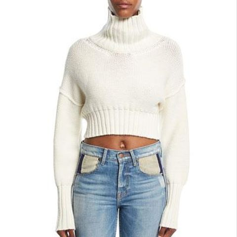 Cropped Knit Turtleneck Sweater